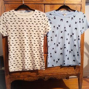 Cat/dino shirts size M